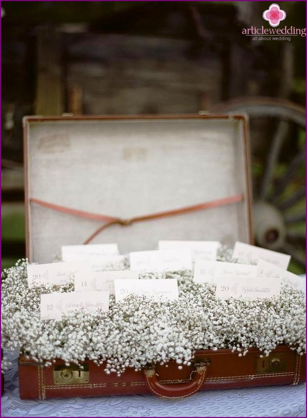 Cards in a suitcase with flowers