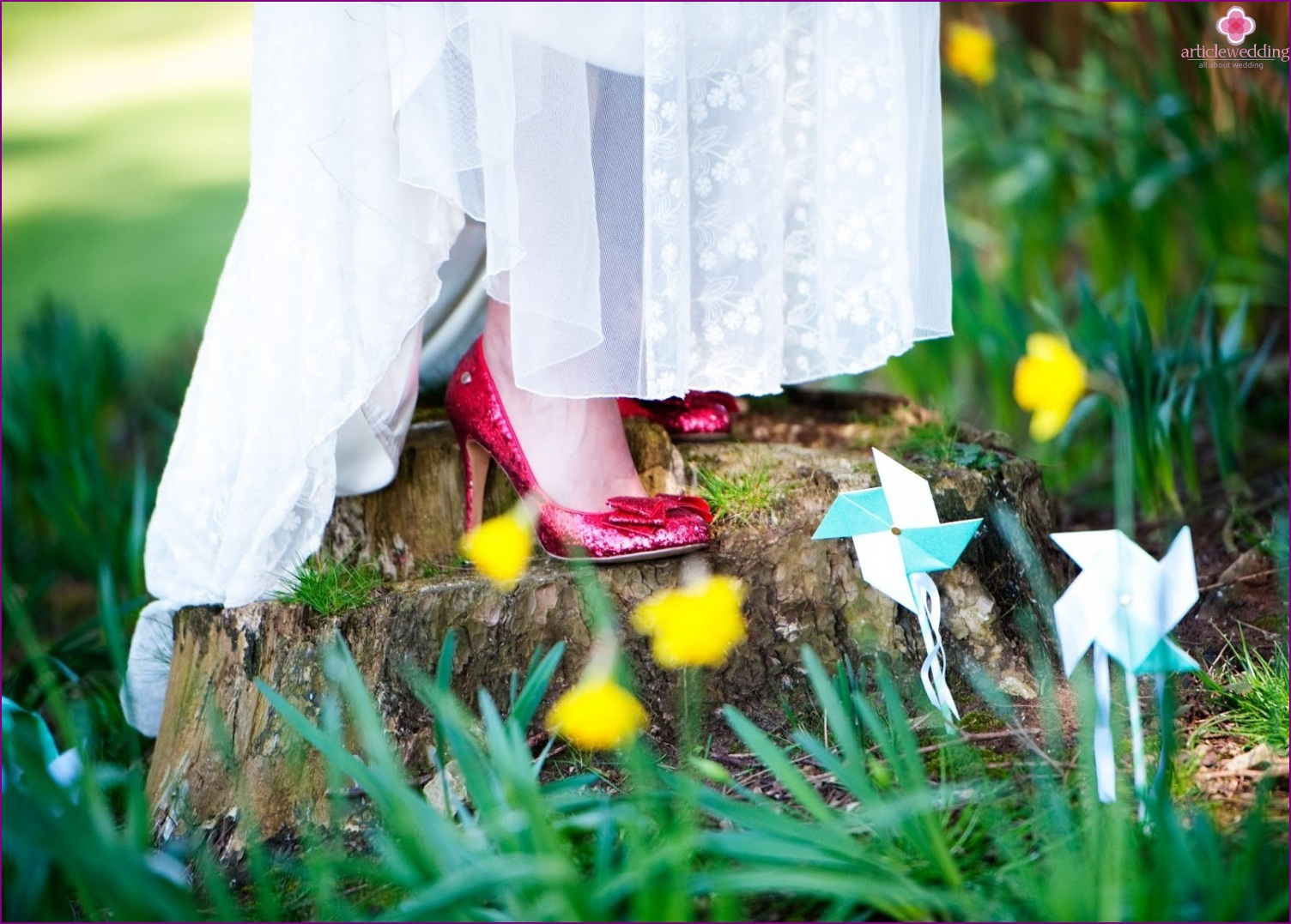 Shoes of the bride in the style of the Wizard of the Emerald City