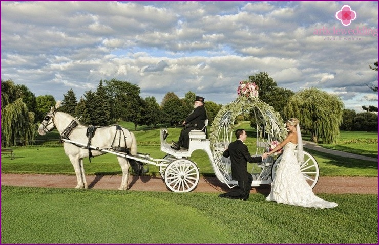 The carriage for the wedding in the style of the fairy tale Cinderella