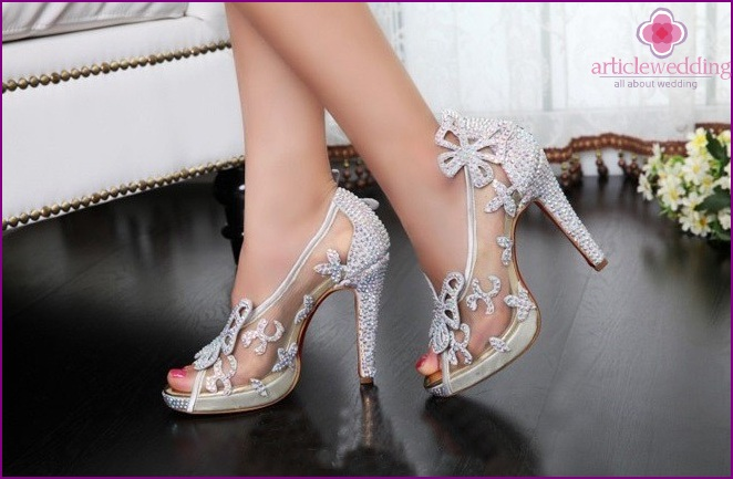 Shoes in the style of a fairy tale Cinderella