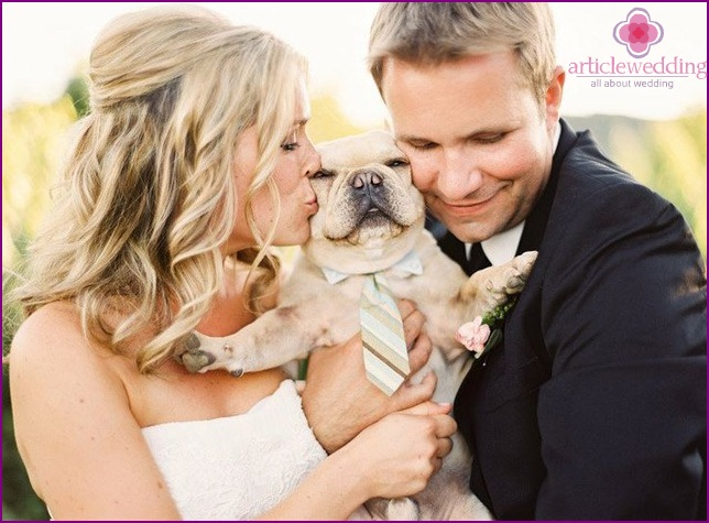 Newlyweds with a pet