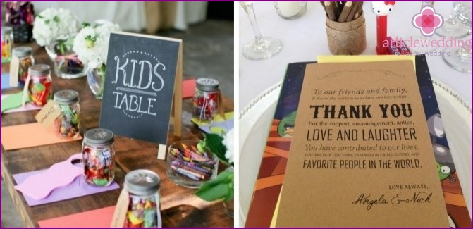 Children's table at the wedding