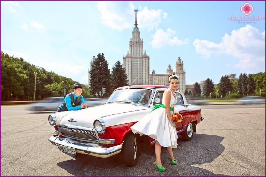 Hipster style wedding car