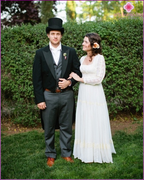Bride and groom in the style of the film Pride and Prejudice
