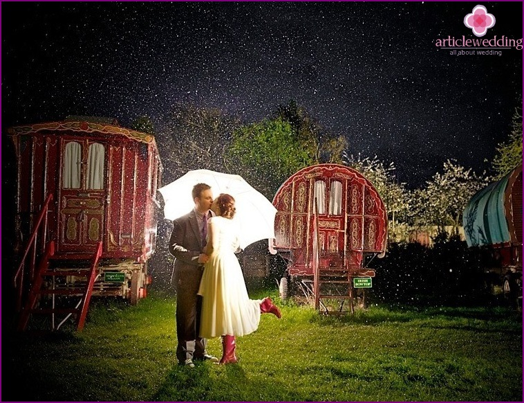 Wedding in the style of the film Singing in the Rain
