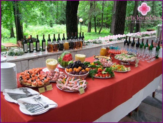 Snacks for a wedding buffet