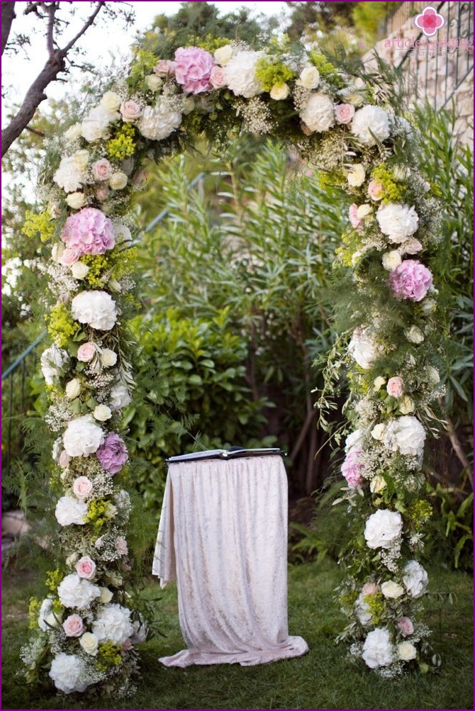 Provence style wedding arch