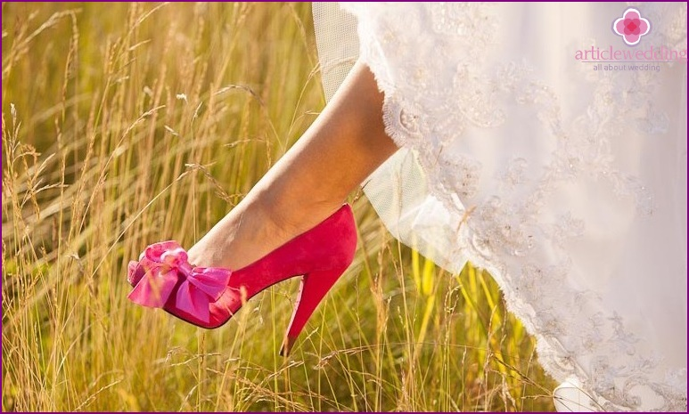 Bright shoes of the bride