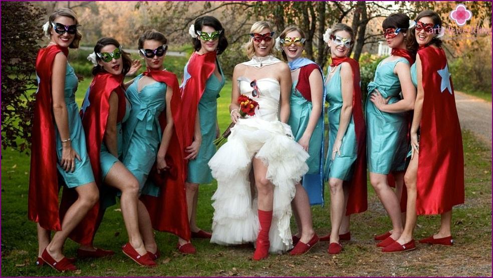 Bride and her Superhero style girlfriends