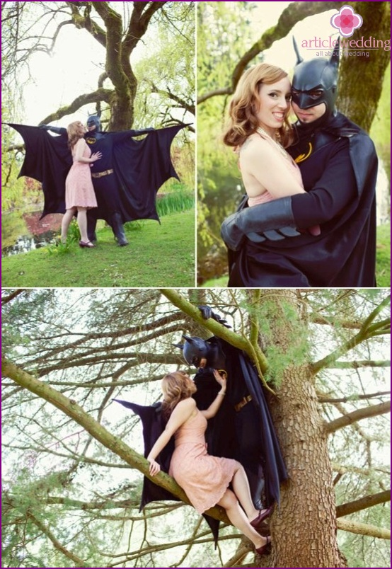 Newlyweds in the style of Superheroes