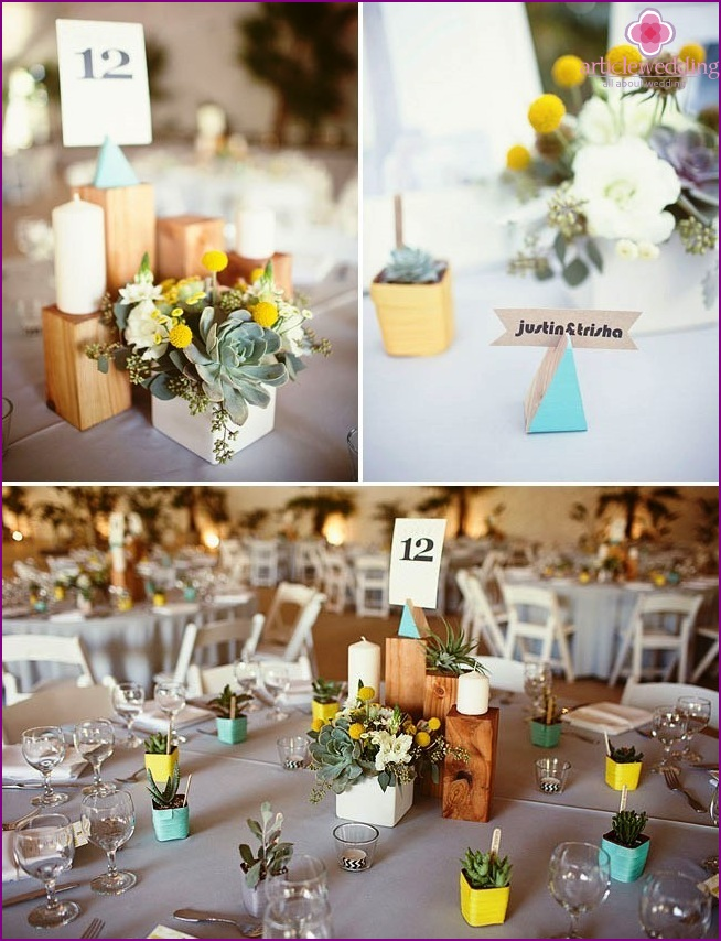 Squares and rectangles in the decor of a wedding party