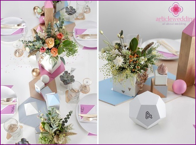 Geometric Wedding Table Decorations