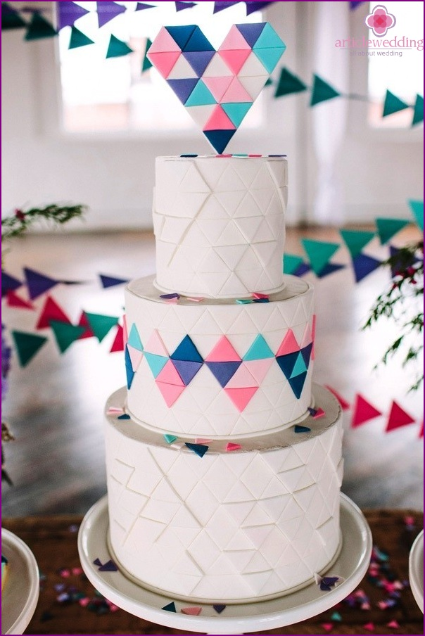 Geometric wedding cake decorations and treats.