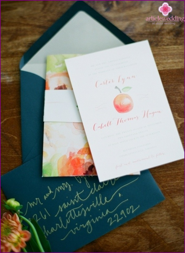 Peach style wedding invitations