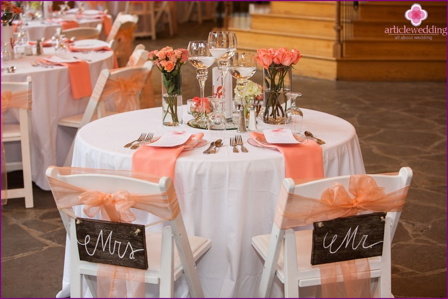 Peach wedding color scheme
