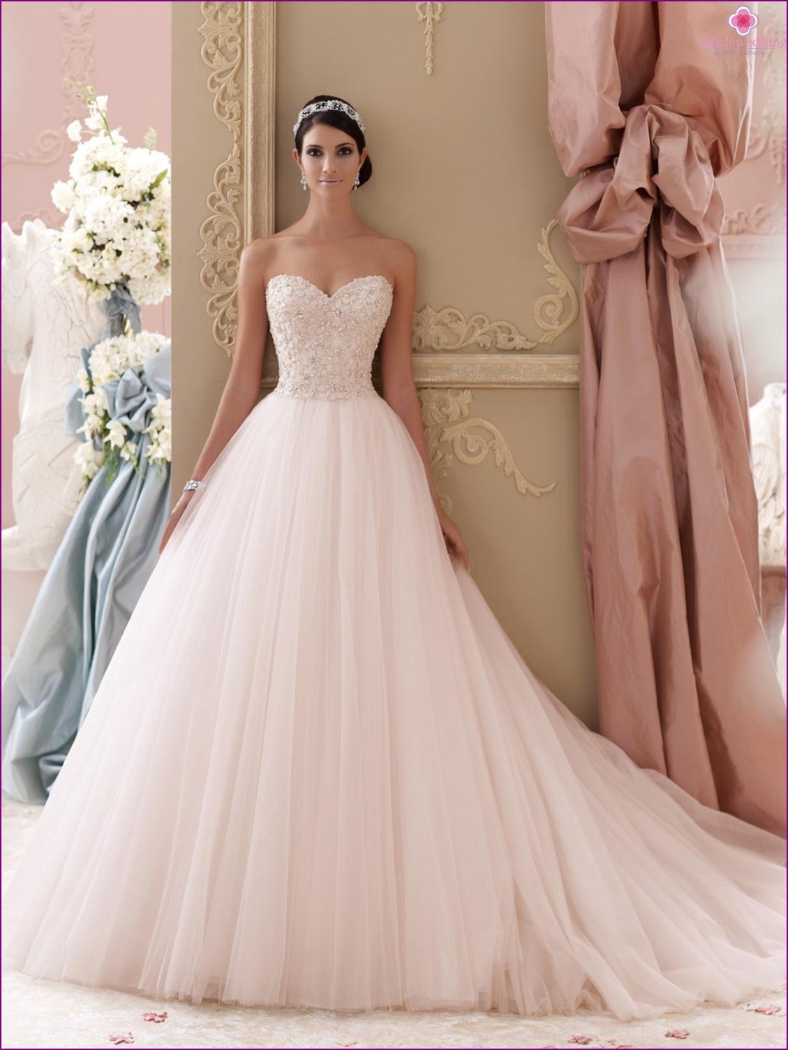 Baby pink wedding dress