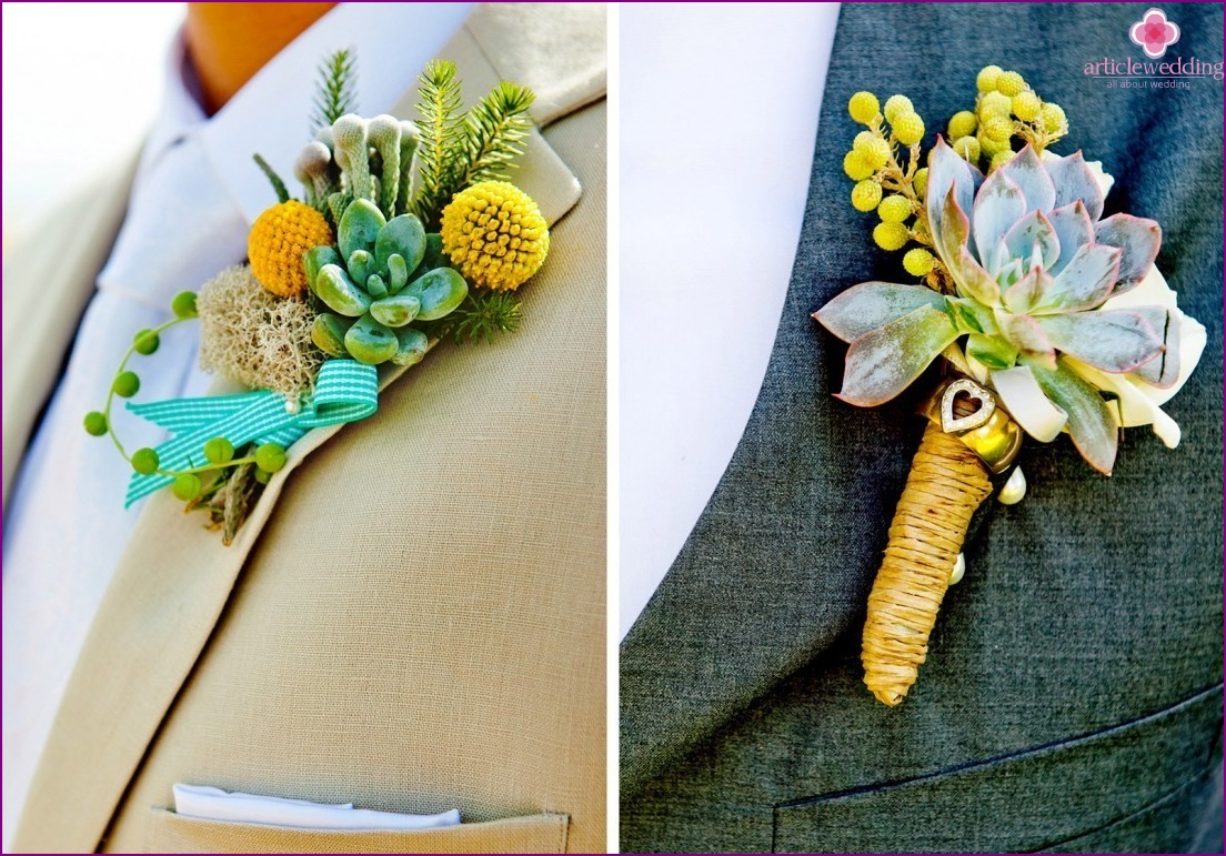 Boutonnieres for the groom