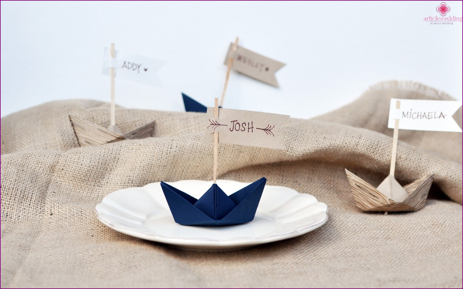 Origami paper boats for decorating wedding tables