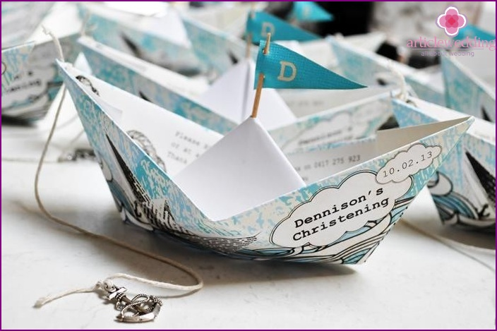 Origami boats for decorating wedding tables