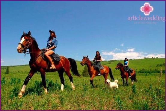 Girlfriends on horseback