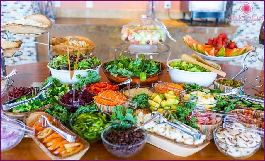Salad bar at the wedding