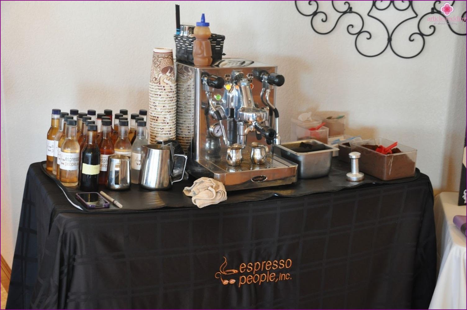 Coffee bar for a wedding