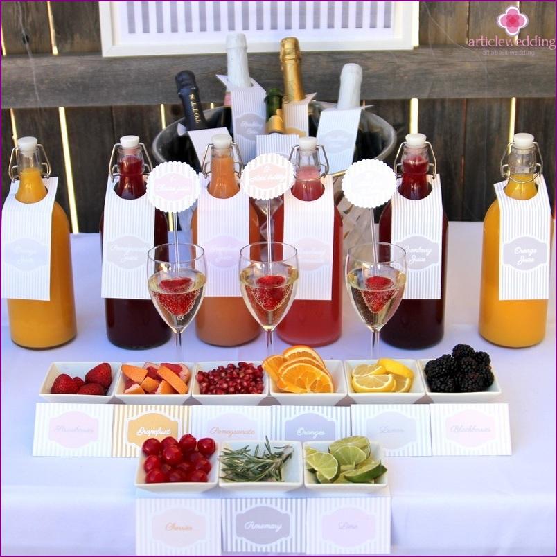 Mimosa bar at a wedding