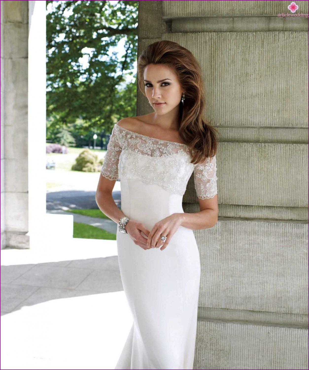 Dress with a covered neckline