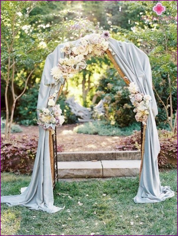 Wedding decoration in dusty blue