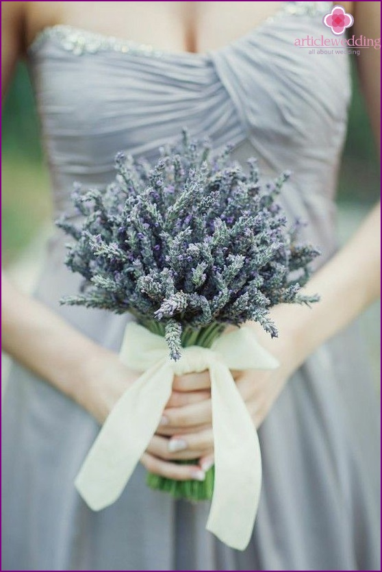 Bouquet in dusty blue color