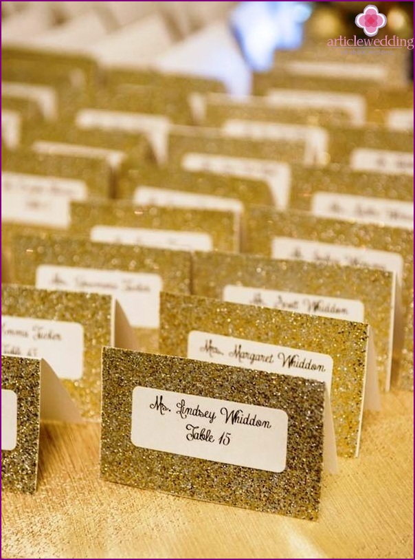 Banquet cards in gold color