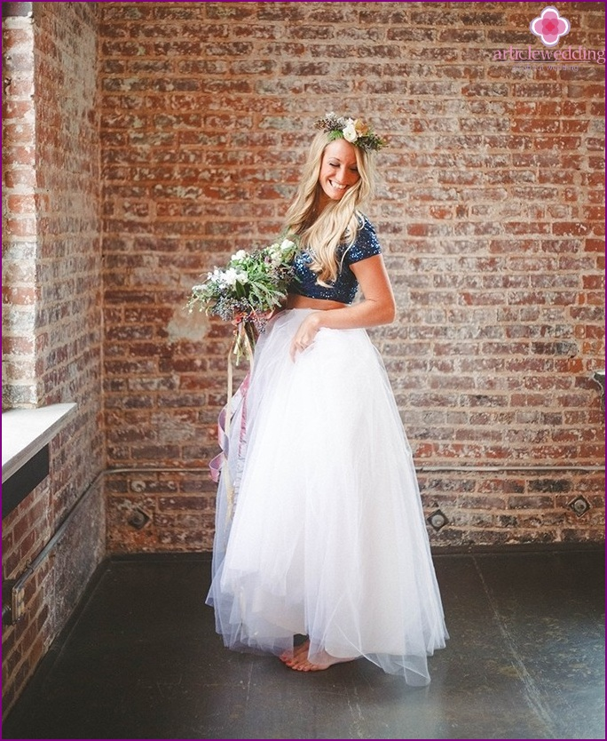 Blue and Gold Bridesmaid Dress