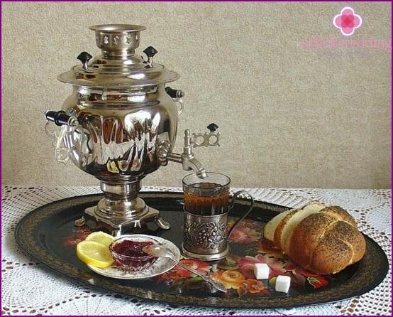 Tea drinking with a samovar
