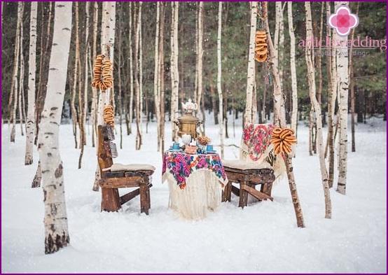 Tea party at a winter photo shoot