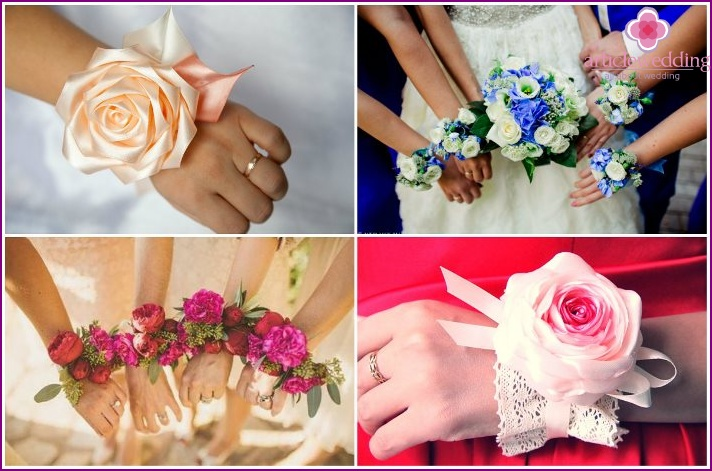 The combination of the boutonniere of the bride and the bridesmaids