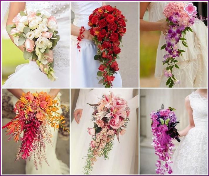 Drop-down flower arrangement for the bride
