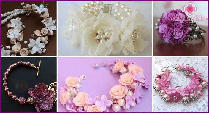 Jewelry in the form of pearl bracelets for the bride