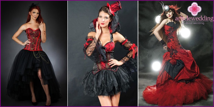 Gothic outfit of the bride in a red dress