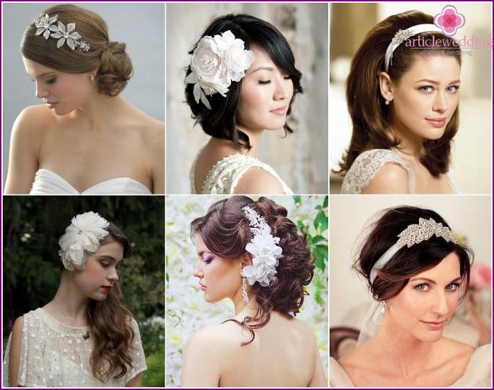 Barrette with rhinestones or headband for a wedding