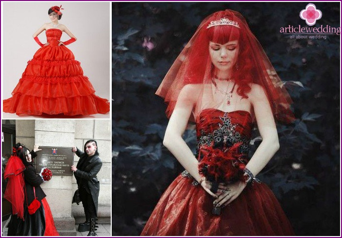 Scarlet veil with gothic options for dresses