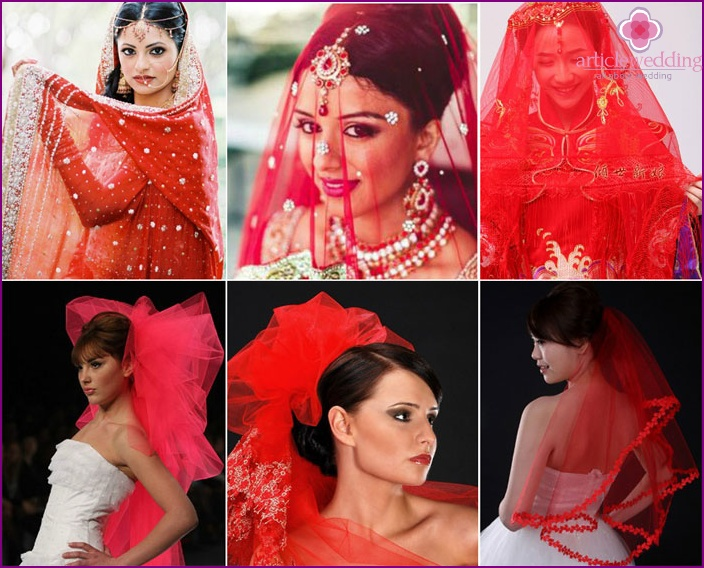 Beautiful wedding dresses with a scarlet veil