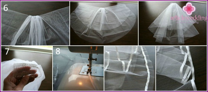 Sewing a bride's veil with a comb