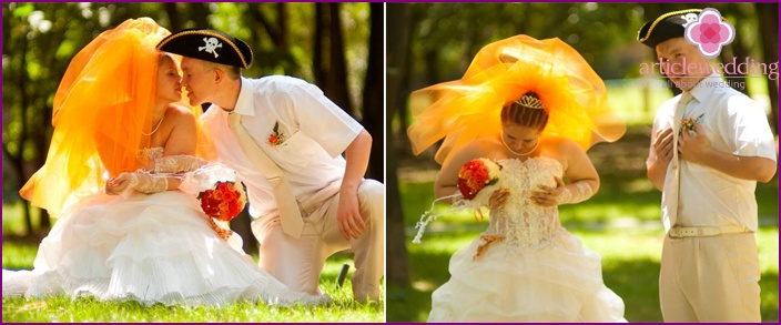 Orange Hochzeitsschleier