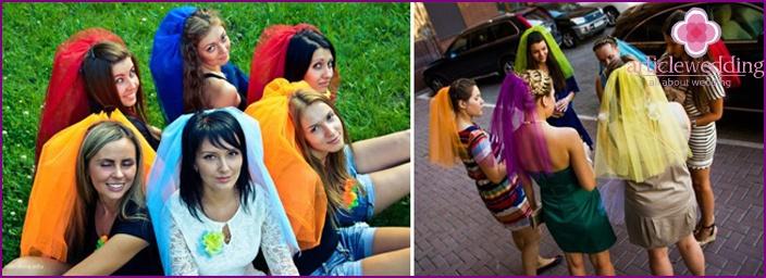 Schleier für eine Junggesellenparty im orangefarbenen Stil