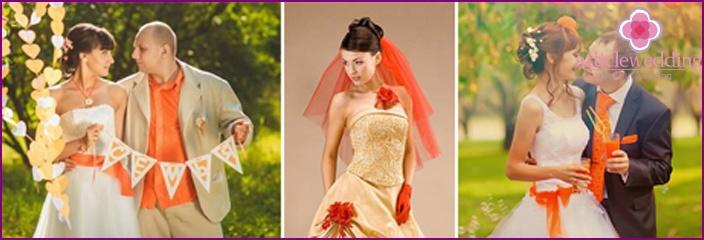 Hochzeitskleid und Schleier mit einem Hauch von Orange