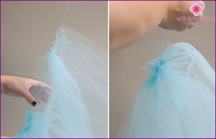 Making pleats on the veil