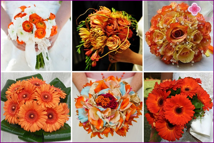 The combination of an orange bouquet with a bridal veil