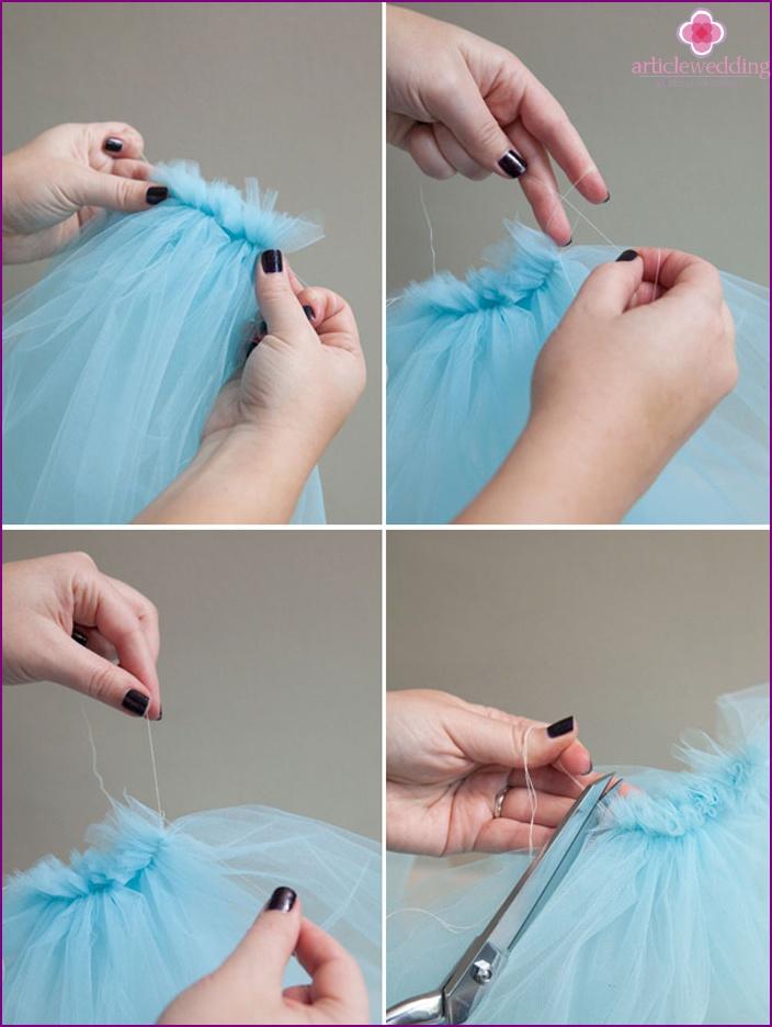 DIY veil: fasten the threads