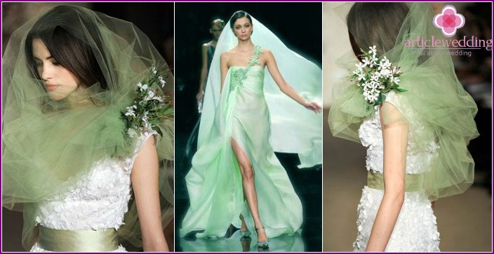 Original green bride headdress