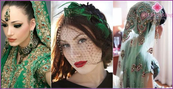 Interesting options for emerald veils